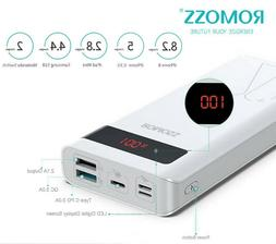ROMOSS 20000mAh Portable Charger 18W PD Power Bank Type-C QC