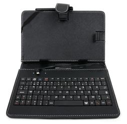 DURAGADGET AZERTY French Keyboard Folio Case in Black for Li