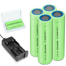 Charger With Batteries 2600mAh 18650 Rechargeable 3.7V Flat