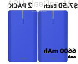 2 Pack of Power Banks 6600mAh iPhone Samsung Android Portabl